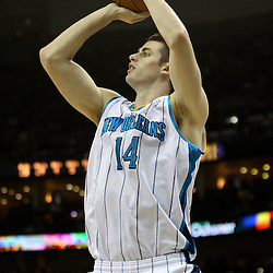 April 11, 2011; New Orleans, LA, USA; New Orleans Hornets power forward Jason Smith (14) against the Utah Jazz during the second half at the New Orleans Arena. The Jazz defeated the Hornets 90-78.  Mandatory Credit: Derick E. Hingle