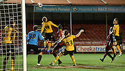 Scott Boden inadvertantly heads into his own net during the Sky Bet League 2 match between Crawley Town and Newport County at the Checkatrade.com Stadium, Crawley, England on 1 March 2016. Photo by Michael Hulf.