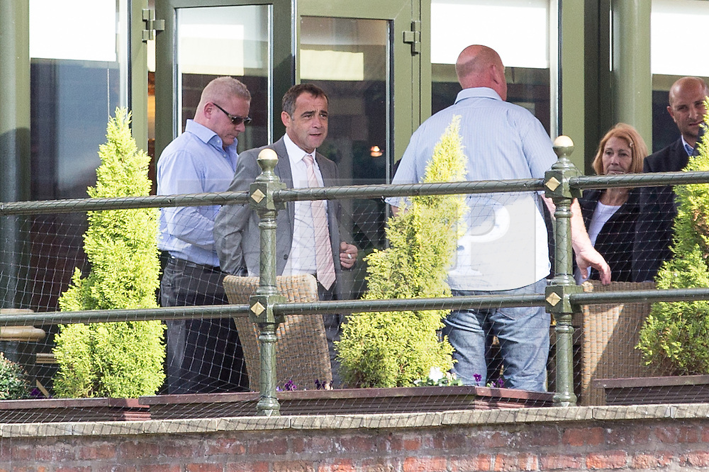 © Licensed to London News Pictures . 10/09/2013 . Manchester , UK . MICHAEL LE VELL (aka Michael Turner ) (2nd left) celebrates at the Victoria and Albert Marriott Hotel in Manchester , this afternoon (Tuesday 10th September 2013) after being cleared of all charges . The actor , who plays mechanic Kevin Webster in Coronation Street , was charged with a series of offences including rape , sexual activity with a child and indecent assault . Photo credit : Joel Goodman/LNP