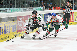 12.12.2014, Curt Fenzel Stadion, Augsburg, GER, DEL, Augsburger Panther vs Koelner Haie, 26. Runde, im Bild l-r: im Zweikampf, Aktion, mit Torsten Ankert #81 (Koelner Haie) und Adrian Grygiel #83 (Augsburger Panther) // during Germans DEL Icehockey League 26th round match between Augsburger Panther vs Koelner Haie at the Curt Fenzel Stadion in Augsburg, Germany on 2014/12/12. EXPA Pictures © 2014, PhotoCredit: EXPA/ Eibner-Pressefoto/ Kolbert<br /> <br /> *****ATTENTION - OUT of GER*****