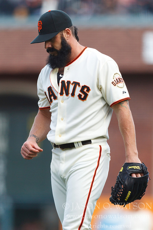 April 8, 2011; San Francisco, CA, USA;  San Francisco Giants relief pitcher Brian Wilson (38) reacts after giving up a 2 run hit against the St. Louis Cardinals during the ninth inning at AT&T Park.