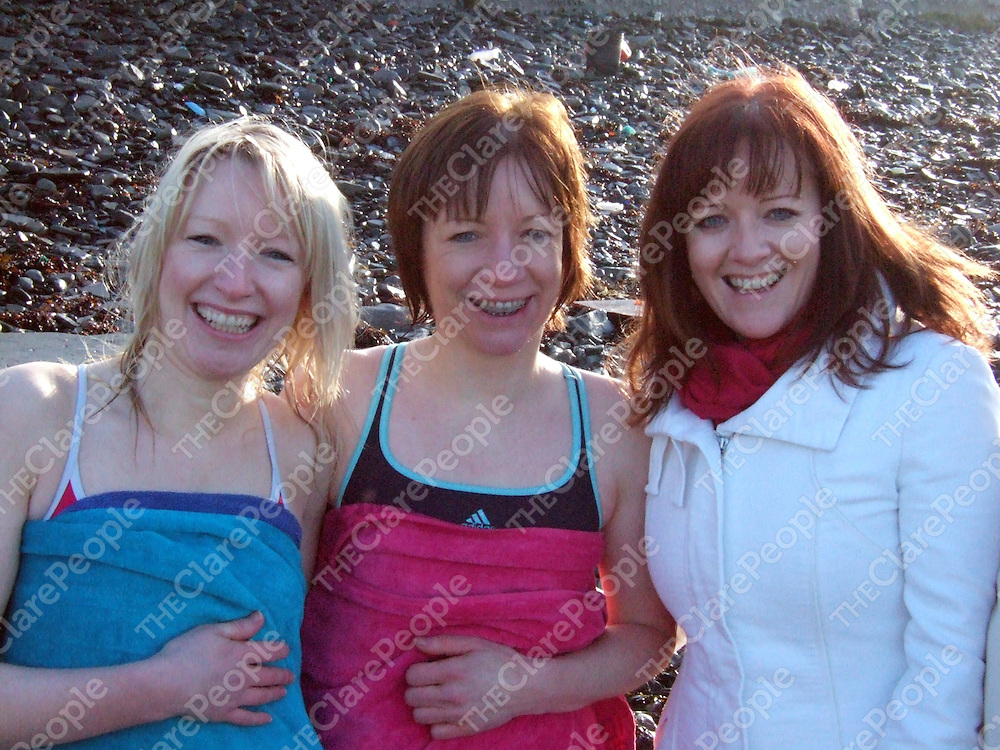 Teresa, Mary and Annette Stanford at Kilkee Sub Aqua Club's Christmas Day Swim on the beach at Kilkee