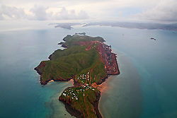 Aerial view of the iron ore operations on Cockatoo Island on the Kimberley coast.