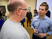 11 APRIL 2019 - AMES, IOWA: A man talks to Rep ERIC SWALWELL (D-CA), right, during Swalwell's town hall meeting on the campus of Iowa State University in Ames. Swalwell represents California's 15th District but is originally from Algona, Iowa. His appearance in Ames Thursday was his first appearance in Iowa since announcing his candidacy to be the Democratic nominee for the US Presidency on April 8, although he made about 20 trips to Iowa since the 2016 election. Iowa traditionally hosts the the first election event of the presidential election cycle. The Iowa Caucuses will be on Feb. 3, 2020.         PHOTO BY JACK KURTZ
