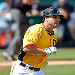 February 25, 2011; Bradenton, FL, USA; Pittsburgh Pirates first baseman Steve Pearce (51) during a spring training exhibition game against the State College of Florida Manatees at McKechnie Field. The Pirates defeated the Manatees 21-1. Mandatory Credit: Derick E. Hingle