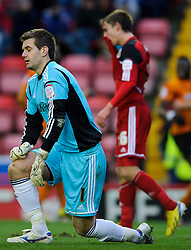 Bristol City Goalkeeper Thomas Heaton (ENG) looks disappointedf after letting in a 4th goal during the first half of the match - Photo mandatory by-line: Rogan Thomson/JMP - Tel: Mobile: 07966 386802 01/12/2012 - SPORT - FOOTBALL - Ashton Gate - Bristol. Bristol City v Wolverhampton Wanderers - npower Championship.