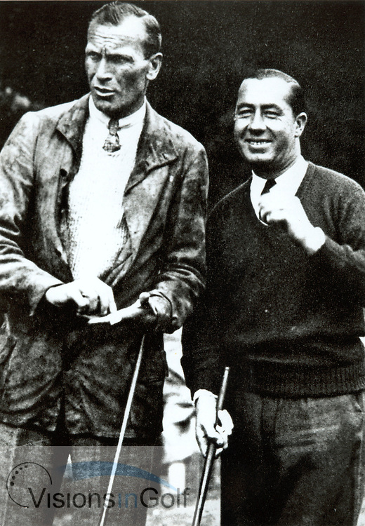 Walter Hagen (right) and Archie Compston before the famous match in 1928/29<br /> Picture Credit: ©Visions In Golf / Michael Hobbs