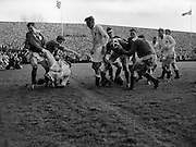 Irish Rugby Football Union, Ireland v England, Five Nations, Landsdowne Road, Dublin, Ireland, Saturday 11th February, 1961,.11.2.1961, 2.11.1961,..Referee- G J Treharne, Welsh Rugby Union, ..Score- Ireland 11 - 8 England, ..Irish Team, ..T J Kiernan,  Wearing number 15 Irish jersey, Full Back, University college Cork Football Club, Cork, Ireland,  ..R J McCarten, Wearing number 14 Irish jersey, Right Wing, London Irish Rugby Football Club, Surrey, England,..D Hewitt, Wearing number 13 Irish jersey, Right centre, Queens University Rugby Football Club, Belfast, Northern Ireland,..J C Walsh,  Wearing number 12 Irish jersey, Left Centre, University college Cork Football Club, Cork, Ireland,..A J F O'Reilly, Wearing number 11 Irish jersey, Left Wing, Dolphin Rugby Football Club, Cork, Ireland, ..W K Armstrong, Wearing number 10 Irish jersey, Stanf Off, N.I.F.C, Rugby Football Club, Belfast, Northern Ireland, ..J M Moffett, Wearing number 9 Irish jersey, Scrum Half, Ballymena Rugby Football Club, Antrim, Northern Ireland,..B G Wood, Wearing number 1 Irish jersey, Forward, Landsdowne Rugby Football Club, Dublin, Ireland,..A R Dawson, Wearing number 2 Irish jersey, Captain of the Irish team, Forward, Wanderers Rugby Football Club, Dublin, Ireland, ..S Millar, Wearing number 3 Irish jersey, Forward, Ballymena Rugby Football Club, Antrim, Northern Ireland,..W A Mulcahy, Wearing number 4 Irish jersey, Forward, University College Dublin Rugby Football Club, Dublin, Ireland, ..M G Culliton, Wearing number 5 Irish jersey, Forward, Wanderers Rugby Football Club, Dublin, Ireland, ..J R Kavanagh, Wearing number 6 Irish jersey, Forward, Wanderers Rugby Football Club, Dublin, Ireland, ..P J A O' Sullivan, Wearing  Number 8 Irish jersey, Forward, Galwegians Rugby Football Club, Galway, Ireland,..N A Murphy, Wearing number 7 Irish jersey, Forward, Garryowen Rugby Football Club, Limerick, Ireland, ..English Team, ..J G Willcox, Wearing number 15 English jersey, Full Back, Oxford Univers