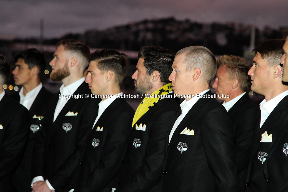 Wellington Phoenix players look on at the dawn ceremony and new logo unveiling of the Wellington Phoenix Football Club at The Wharewhaka Function Centre in Wellington, New Zealand on 10 August 2017.<br /> Copyright photo: Cameron McIntosh / www.photosport.nz