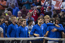 September 22, 2018 - Chicago, Illinois, U.S - Team Europe celebrates the win of ROGER FEDERER of Switzerland after the second singles match between Team Europe and Team World on Day Two of the Laver Cup at the United Center in Chicago, Illinois. (Credit Image: © Shelley Lipton/ZUMA Wire)