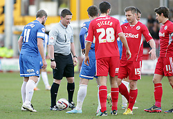 Match referee Lee Collins who Peterborough United Manager, Darren Ferguson accused of swearing at his players in his post match interview  - Photo mandatory by-line: Joe Dent/JMP - Tel: Mobile: 07966 386802 01/03/2014 - SPORT - FOOTBALL - Crawley - Broadfield Stadium - Crawley Town v Peterborough United - Sky Bet League One