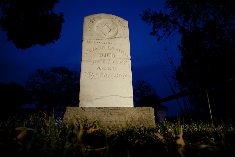 A headstone in Weatherford's Greenwood Cemetery marks the final resting place of Oliver Loving, partner of Charles Goodnight on the trail that bears both their names.