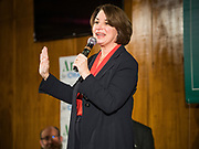 26 JANUARY 2020 - AMES, IOWA: US Senator AMY KLOBUCHAR (D-MN) speaks to a crowd of about 350 people during a campaign event at Jethro's BBQ in Ames. Sen. Klobuchar campaigned to support her candidacy for the US Presidency Sunday in central Iowa during the one day break from the impeachment trial of President Trump. She is trying to capitalize on her recent uptick in national polls. Iowa holds the first selection event of the presidential election cycle. The Iowa Caucuses are Feb. 3, 2020.      PHOTO BY JACK KURTZ