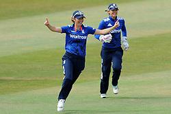 England's Charlotte Edwards celebrates taking a catch off the bowling of England's Katherine Burnt to dismiss Australia's Elyse Villani- Photo mandatory by-line: Harry Trump/JMP - Mobile: 07966 386802 - 21/07/15 - SPORT - CRICKET - Women's Ashes - Royal London ODI - England Women v Australia Women - The County Ground, Taunton, England.