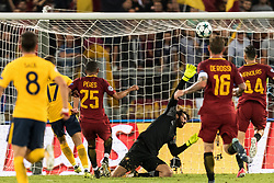 goalkeeper Alisson Becker of AS Roma saves during the UEFA Champions League group C match match between AS Roma and Atletico Madrid on September 12, 2017 at the Stadio Olimpico in Rome, Italy.