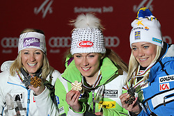 16.02.2013, Medal Plaza, Schladming, AUT, FIS Weltmeisterschaften Ski Alpin, Slalom,  Damen, Siegerehrung, im Bild v. l. Michaela Kirchgasser (AUT, 2. Platz), Mikaela Shiffrin (USA, 1. Platz), Frida Hansdotter (SWE, 3. Platz) // from left 2nd place Michaela Kirchgasser of Austria, 1st place Mikaela Shiffrin of United States, 3rd place Frida Hansdotter of Sweden at the Winner Award Ceremony for Womens Slalom at the FIS Ski World Championships 2013 at the Medal Plaza, Schladming, Austria on 2013/02/16. EXPA Pictures © 2013, PhotoCredit: EXPA/ Martin Huber