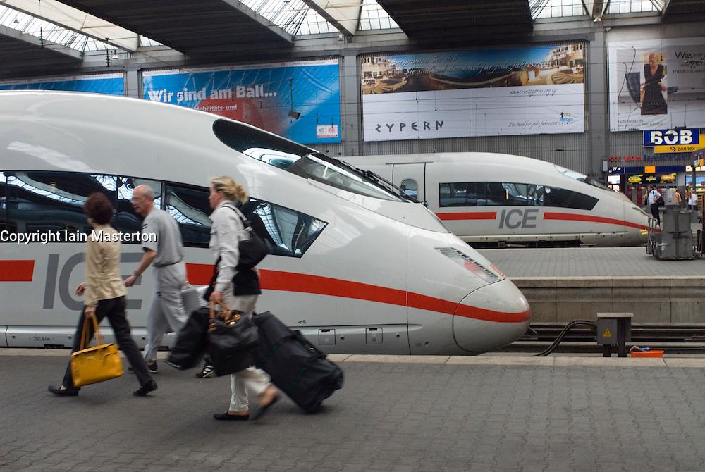 German high speed ICE trains at Munich railway station