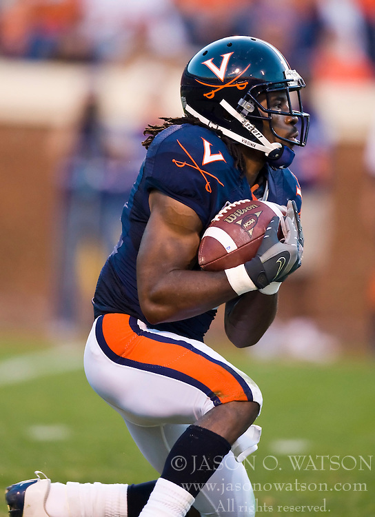November 14, 2009; Charlottesville, VA, USA;  Virginia Cavaliers wide receiver Vic Hall (4) fields a punt during the second quarter against the Boston College Eagles at Scott Stadium.  Boston College defeated Virginia 14-10. Mandatory Credit: Jason O. Watson-US PRESSWIRE