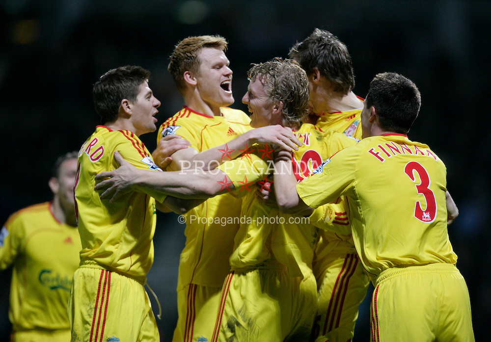 London, England - Tuesday, January 30, 2007: Liverpool's Dirk Kuyt celebrates scoring the opening goal against West Ham United with team-mates (L-R) Steven Gerrard, John Arne Riise, Peter Crouch and Steve Finnan during the Premiership match at Upton Park. (Pic by David Rawcliffe/Propaganda)..USE IN LIVERPOOL DAILY POST & ECHO, LFC MAGAZINE & LFC PROGRAMME ONLY. NOT FOR OTHER USE.