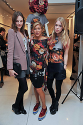 Left to right, SARA BLOMVQUIST, MAIA NORMAN and MARY CHARTERIS at the Mother of Pearl Launch at The Other Criteria, 36 New Bond Street, London W1 on 12th April 2011.