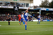 Bristol Rovers defender Tom Davies celebrates a goal (1-0) during the EFL Sky Bet League 1 match between Bristol Rovers and Milton Keynes Dons at the Memorial Stadium, Bristol, England on 12 October 2019.