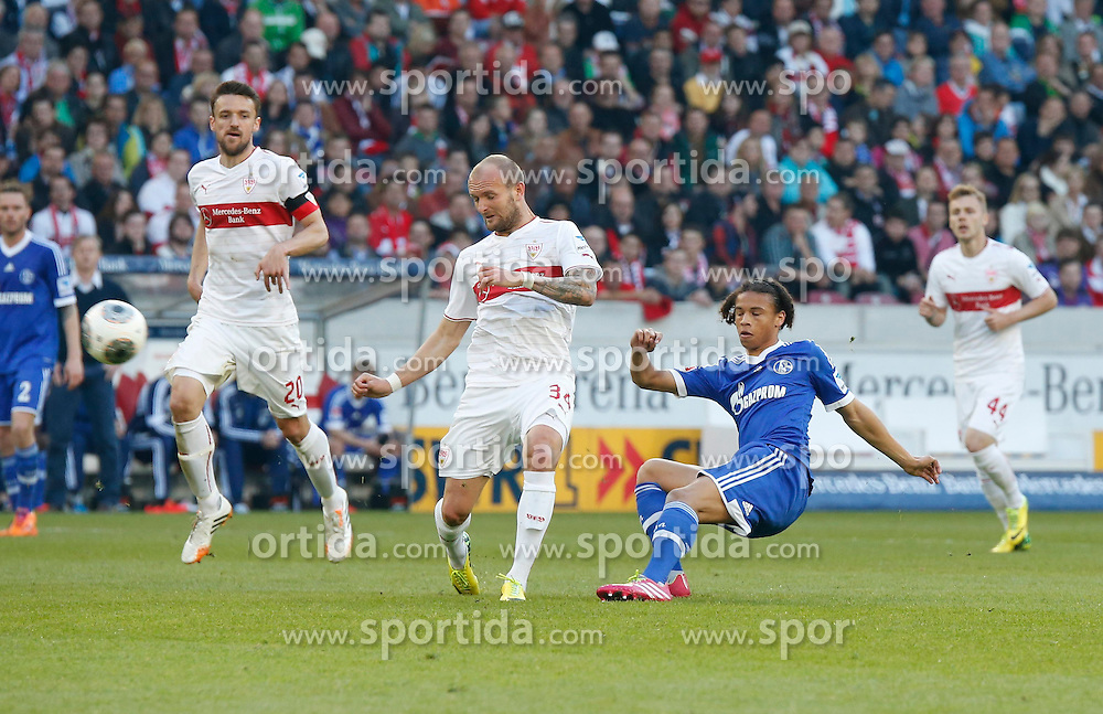 20.04.2014, Mercedes Benz Arena, Stuttgart, GER, 1. FBL, VfB Stuttgart vs Schalke 04, 31. Runde, im Bild von links Christian Gentner (VfB Stuttgart), Konstantin Rausch (VfB Stuttgart), Leroy Sane (FC Schalke 04), Alexandru Maxim (VfB Stuttgart) // during the German Bundesliga 31th round match between VfB Stuttgart and Schalke 04 at the Mercedes Benz Arena in Stuttgart, Germany on 2014/04/20. EXPA Pictures &copy; 2014, PhotoCredit: EXPA/ Eibner-Pressefoto/ BW-FOTO<br /> <br /> *****ATTENTION - OUT of GER*****