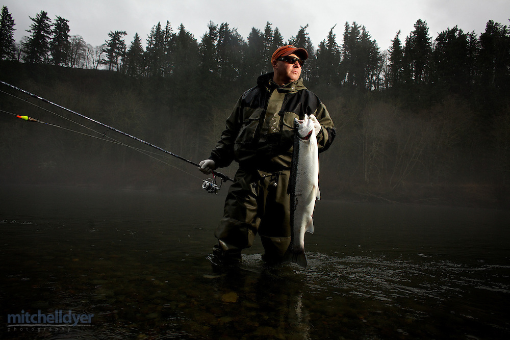 Photo of Steelhead fishing on the Sandy River near Portland, OR.