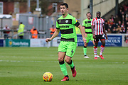 Forest Green Rovers Lloyd James(4) on the ball during the EFL Sky Bet League 2 match between Lincoln City and Forest Green Rovers at Sincil Bank, Lincoln, United Kingdom on 3 November 2018.