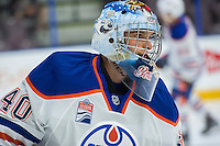 PENTICTON, CANADA - SEPTEMBER 17: Keven Bouchard #40 of Edmonton Oilers warms up against the Calgary Flames on September 17, 2016 at the South Okanagan Event Centre in Penticton, British Columbia, Canada.  (Photo by Marissa Baecker/Shoot the Breeze)  *** Local Caption *** Keven Bouchard;