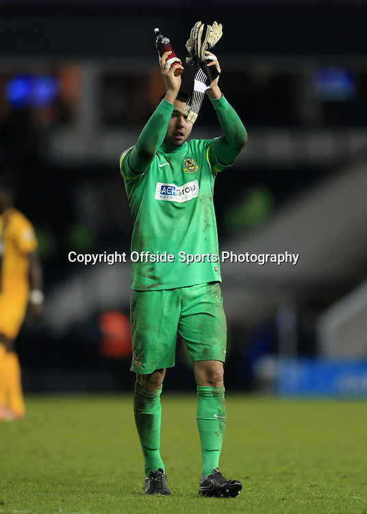 3rd January 2015 - FA Cup - 3rd Round - Derby County v Southport - Southport goalkeeper David Raya Martin applauds the support after the match - Photo: Simon Stacpoole / Offside.