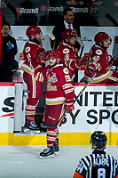 REGINA, SK - MAY 20: Samuel Asselin #28 of Acadie-Bathurst Titan celebrates a goal against the Regina Pats at the Brandt Centre on May 20, 2018 in Regina, Canada. (Photo by Marissa Baecker/CHL Images)