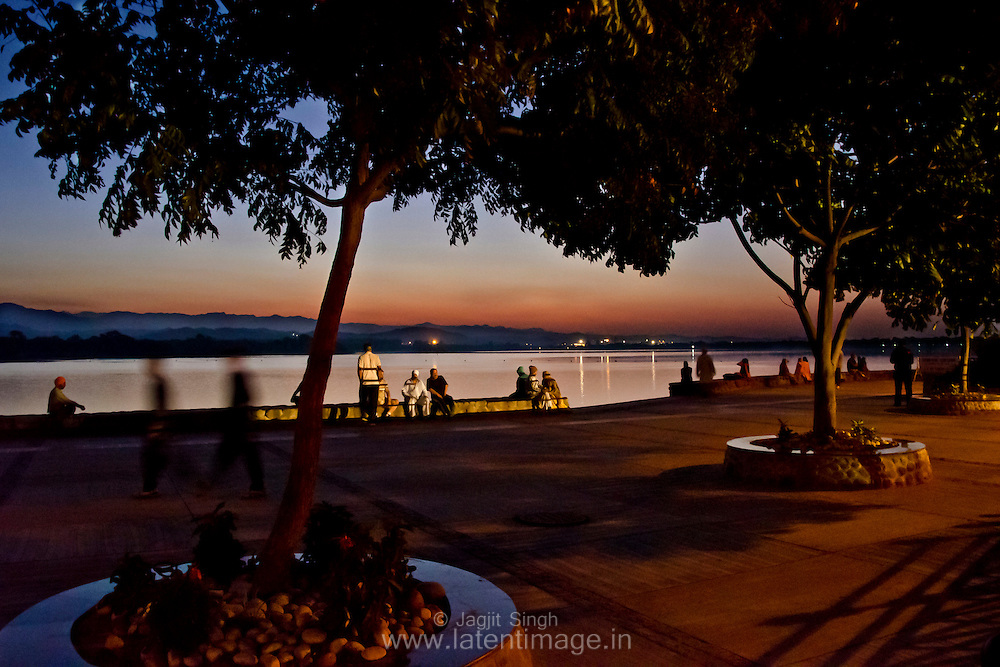 People enjoying the morning walk at Sukhna Lake, Chandigarh.