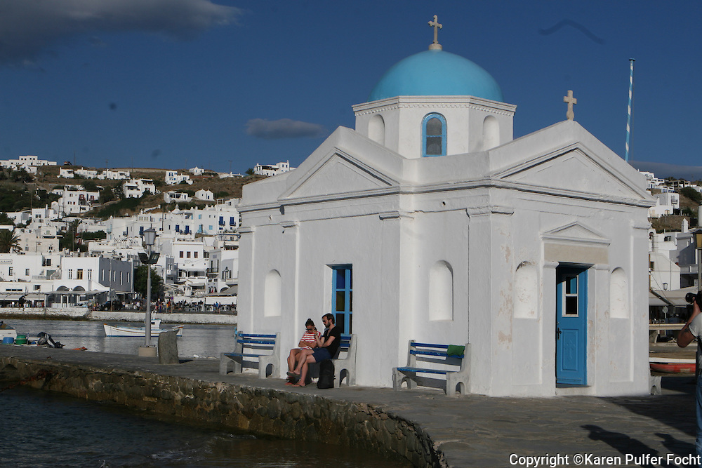 June 1, 2014 - Scenic pictures from the peaceful and picturesque island of  Mykonos, Greece. Including the notorious turquoise domes.