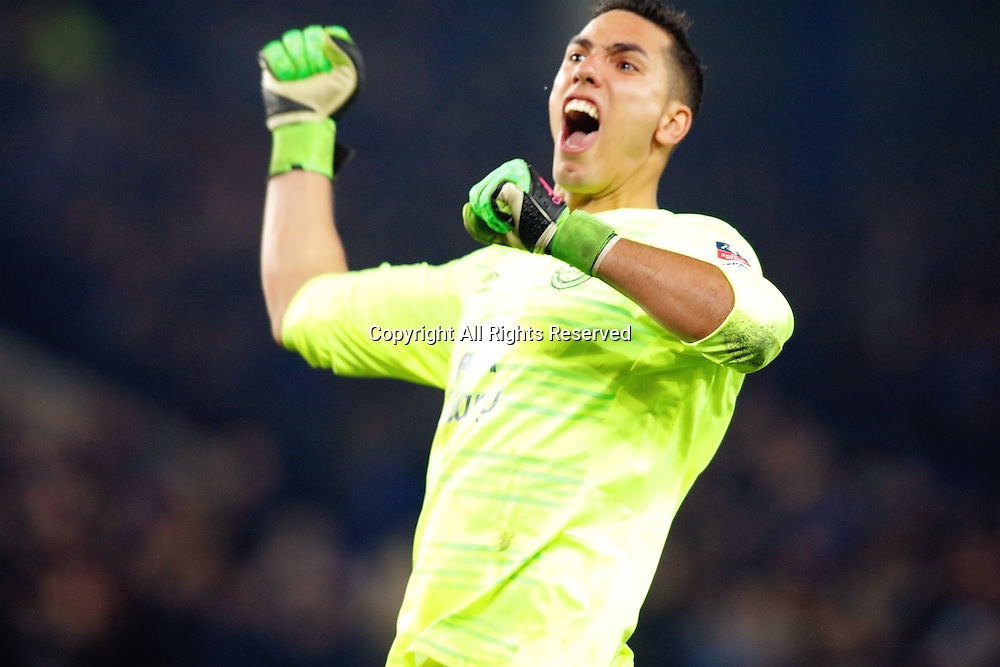 12.03.2016. Goodison Park, Liverpool, England. Emirates FA Cup 6th Round. Everton versus Chelsea. Joel Robles of Everton celebrates his teams first goal scored by Romelu Lukaku