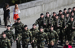 Members of the public watch the 110th Infantry Battalion march to Custume Barracks, Athlone, ahead of their six-month deployment to South Lebanon as part of United Nations Interim Force in Lebanon (Unifil).