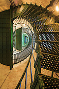 Looking up at the spiral stairs inside of Currituck Beach Lighthouse.