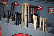 LOS ANGELES, CA - JULY 29:  Bats are in their bins and ready for the Los Angeles Dodgers game against the Atlanta Braves at Dodger Stadium on Tuesday, July 29, 2014 in Los Angeles, California. The Dodgers won the game 8-4. (Photo by Paul Spinelli/MLB Photos via Getty Images)