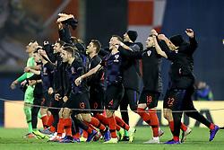 ZAGREB, Nov. 15, 2018  Croatia national football team celebrate after the UEFA Nations League A group 4 match between Croatia and Spain at Maksimir stadium in Zagreb, Croatia, on November 15. Croatia won 3:2. (Credit Image: © Igor Kralj/Pixsell/Xinhua via ZUMA Wire)