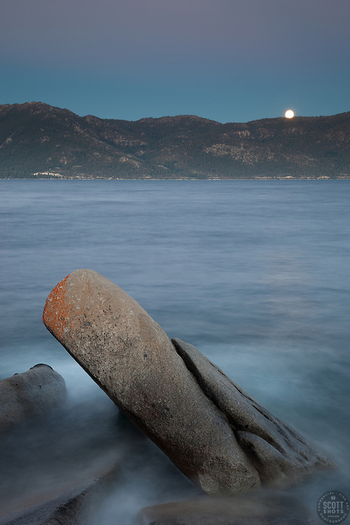 """Full Moon Over Lake Tahoe 10"" - These boulders and full moon were photographed at Crystal Point in Crystal Bay, Lake Tahoe."