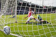 NIJMEGEN, NEC - Ajax, voetbal, Eredivsie seizoen 2015-2016, 23-08-2015, Stadion De Goffert, NEC speler Rens van Eijden (2R) scoort in zijn eigen doel onder druk an Ajax speler Arek Milik (M), eigen doelpunt, 0-2 voor Ajax.