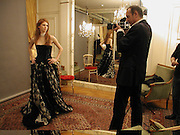hon Lara Hughes-Young, Getting ready before the  Thirteenth Annual Crillon Haute Couture Ball. Paris,  29 November 2003. © Copyright Photograph by Dafydd Jones 66 Stockwell Park Rd. London SW9 0DA Tel 020 7733 0108 www.dafjones.com