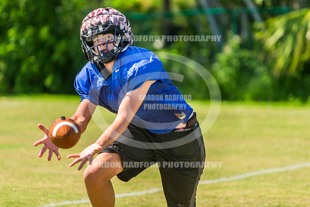 Luke Santini makes a reception during spring practice on 5/16/2017.