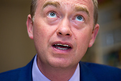 © Licensed to London News Pictures. 15/05/2017. Olton, Solihull, UK. Liberal Democrats Leader Tim Farron in Solihull to support Ade Adeyeno the local LibDem candidate (wearing spectacles).  Photo credit: Dave Warren/LNP