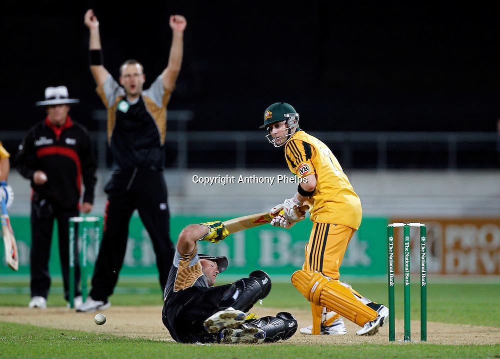Nathan McCullum drops Michael Clark New Zealand v Australia Twenty20 cricket match. Westpac Stadium, Wellington. Friday 26 February 2010. Photo: Anthony Phelps/PHOTOSPORT