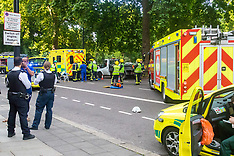 2017-07-07- Road accident on Park Lane between ambulance and car - traffic chaos.