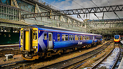 ScotRail passenger train arriving at Central Station in Glasgow, Scotland<br /> <br /> (c) Andrew Wilson   Edinburgh Elite media