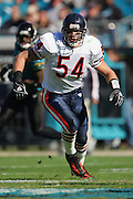 JACKSONVILLE, FL - DECEMBER 12:  Linebacker Brian Urlacher #54 of the Chicago Bears was limited to four tackles and two assists against the Jacksonville Jaguars on December 12, 2004 at Alltel Stadium in Jacksonville, Florida. The Jags defeated the Bears 22-3. ©Paul Anthony Spinelli *** Local Caption *** Brian Urlacher