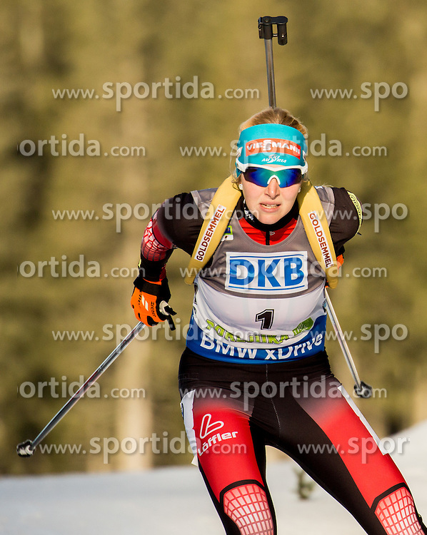 Lisa Theresa Hauser (AUT) competes during Women 7,5 km Sprint at day 2 of IBU Biathlon World Cup 2015/16 Pokljuka, on December 18, 2015 in Rudno polje, Pokljuka, Slovenia. Photo by Vid Ponikvar / Sportida