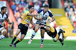 Ben Mosses of Bristol Rugby takes on the Cornish Pirates defence - Photo mandatory by-line: Patrick Khachfe/JMP - Mobile: 07966 386802 21/09/2014 - SPORT - RUGBY UNION - Bristol - Ashton Gate - Bristol Rugby v Cornish Pirates - GK IPA Championship.