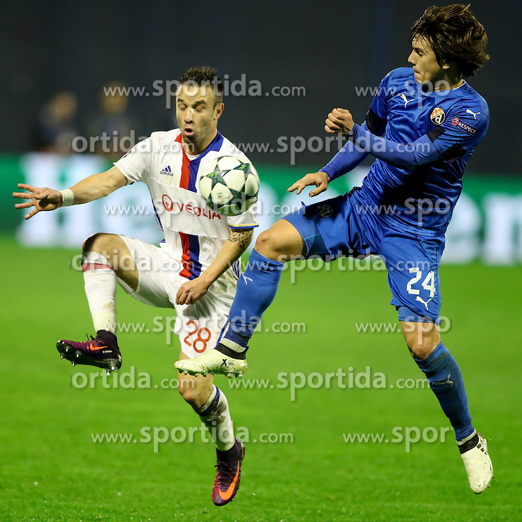 Mathieu Valbuena of Lyon vs Ante Coric of GNK Dinamo Zagreb during football match between GNK Dinamo Zagreb and Olympique Lyonnais in Group H of Group Stage of UEFA Champions League 2016/17, on November 22, 2016 in Stadium Maksimir, Zagreb, Croatia. Photo by Morgan Kristan / Sportida